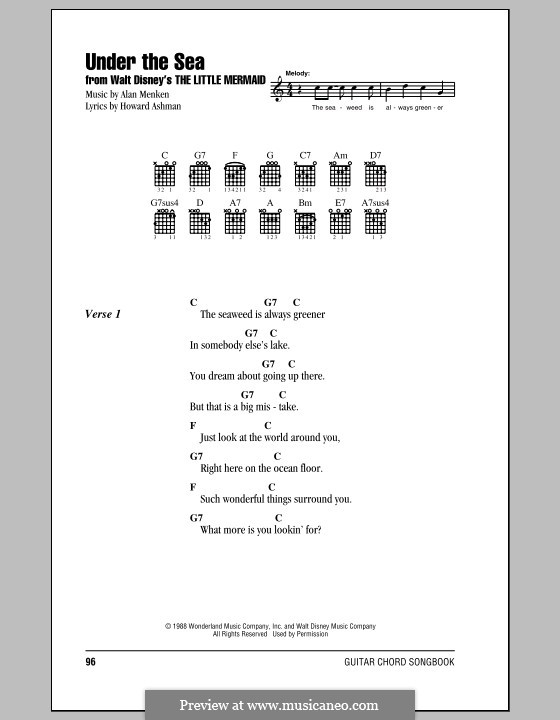 Under the Sea (from The Little Mermaid): Lyrics and chords (with chord boxes) by Alan Menken
