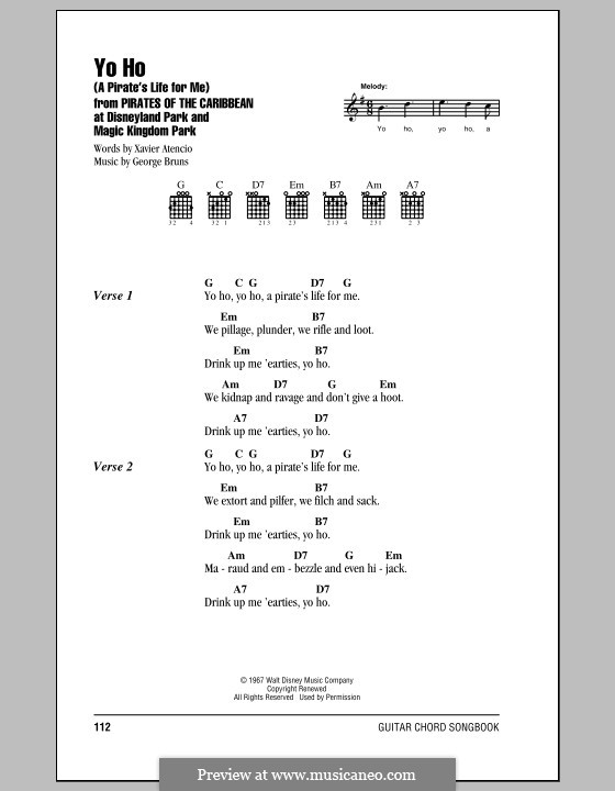 Yo Ho (A Pirate's Life for Me): Lyrics and chords by George Bruns