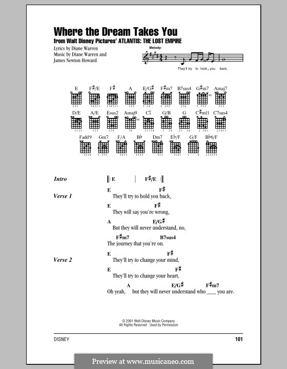 Where the Dream Takes You (from Atlantis: The Lost Empire): Lyrics and chords (with chord boxes) by James Newton Howard