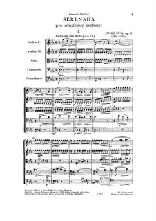 Serenade for Strings in E Flat Major, Op.6: Full score by Josef Suk