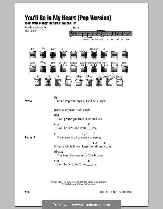 You'll Be in My Heart (from Walt Disney's Tarzan): Lyrics and chords (with chord boxes) by Phil Collins