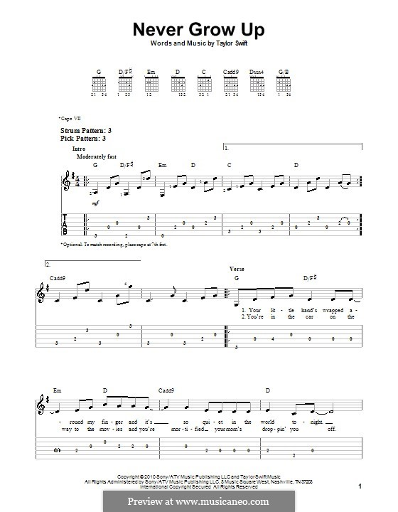 Never Grow Up: For guitar (very easy version) by Taylor Swift