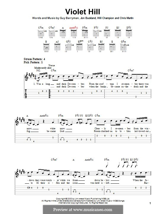 Violet Hill (Coldplay): For guitar (very easy version) by Chris Martin, Guy Berryman, Jonny Buckland, Will Champion