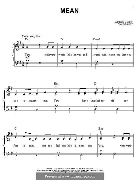 Mean: For easy piano by Taylor Swift