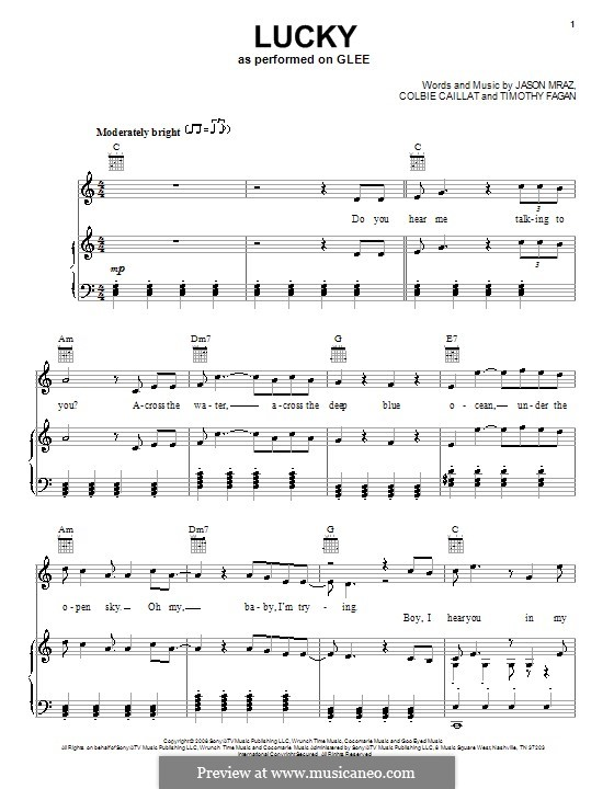 Lucky By C Caillat J Mraz T Fagan Sheet Music On Musicaneo