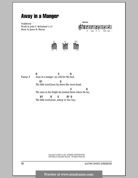 Away in a Manger (Printable Scores): Lyrics and chords (with chord boxes) by James R. Murray