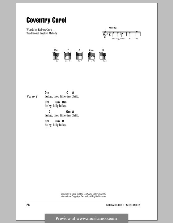 Coventry Carol: Lyrics and chords (with chord boxes) by folklore