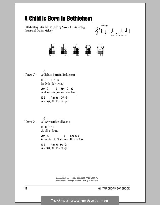 A Child Is Born in Bethlehem: Lyrics and chords (with chord boxes) by folklore