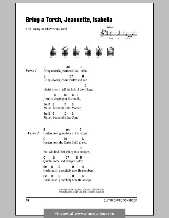 Bring a Torch, Jeannette Isabella: Lyrics and chords (with chord boxes) by folklore