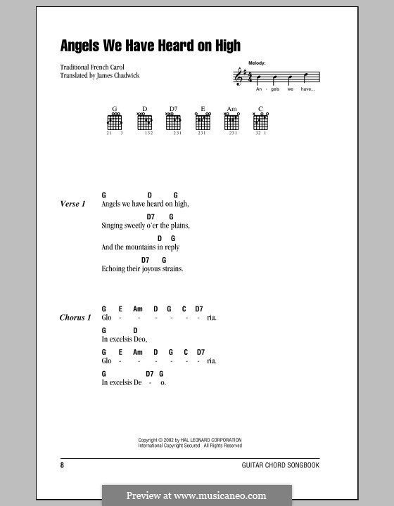 Angels We Have Heard on High: Lyrics and chords (with chord boxes) by folklore