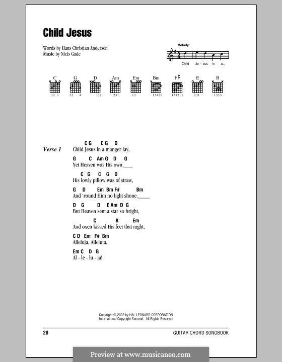 Child Jesus: Lyrics and chords (with chord boxes) by Niels Wilhelm Gade