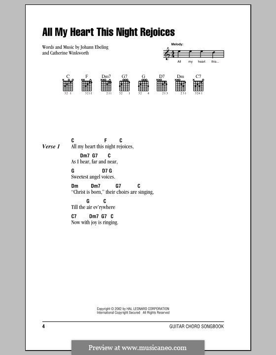 All My Heart This Night Rejoices: Lyrics and chords with chord boxes by Johann Georg Ebeling
