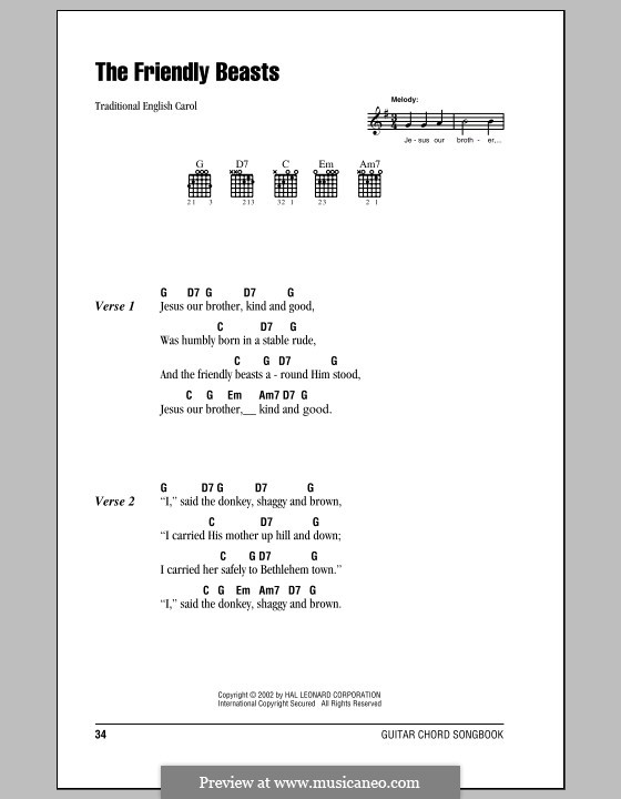 The Friendly Beasts by folklore - sheet music on MusicaNeo