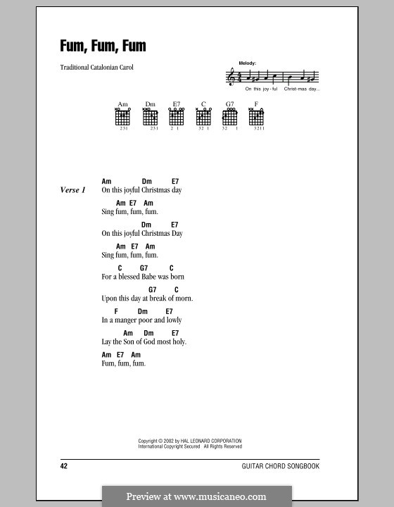 Fum, Fum, Fum by folklore - sheet music on MusicaNeo