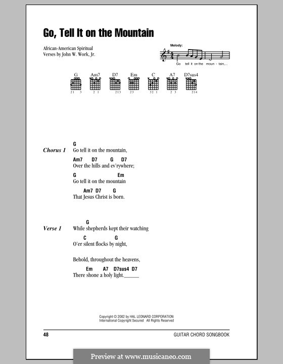 Go, Tell it on the Mountain: Lyrics and chords (with chord boxes) by folklore