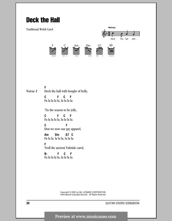 Deck the Hall (Printable): Lyrics and chords (with chord boxes) by folklore