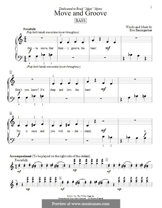 Move and Groove (Bass): For piano by Eric Baumgartner