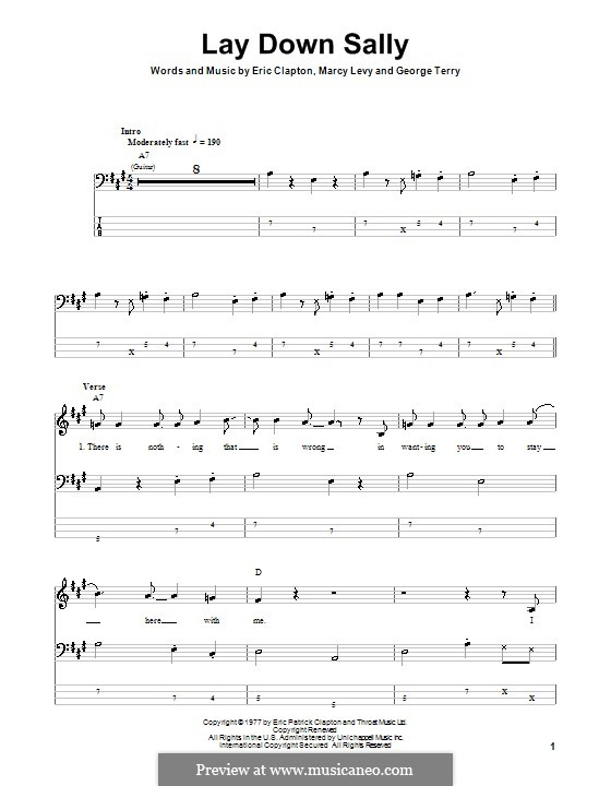Lay Down Sally: For bass guitar with tab by George Terry, Marcy Levy