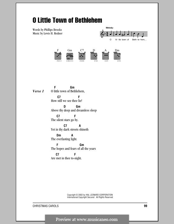 O Little Town of Bethlehem: Lyrics and chords (with chord boxes) by Lewis Henry Redner
