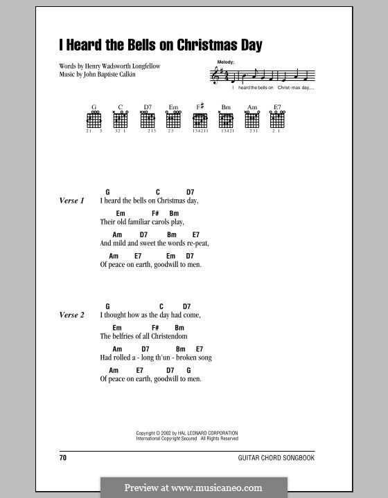I Heard the Bells on Christmas Day: Lyrics and chords (with chord boxes) by John Baptiste Calkin