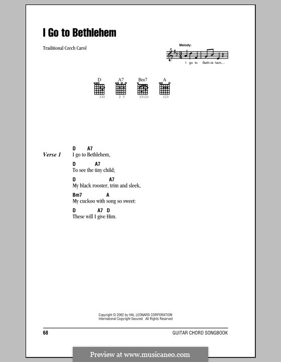 I Go to Bethlehem: Lyrics and chords (with chord boxes) by folklore
