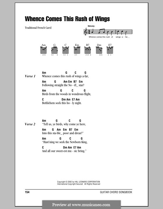 Whence Comes This Rush of Wings: Lyrics and chords (with chord boxes) by folklore