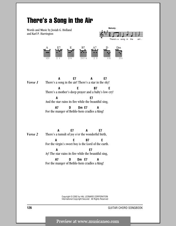 There's a Song in the Air: Lyrics and chords (with chord boxes) by Karl P. Harrington