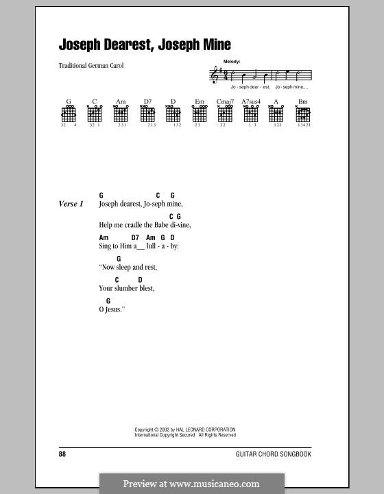 Joseph Dearest, Joseph Mine: Melody line by folklore