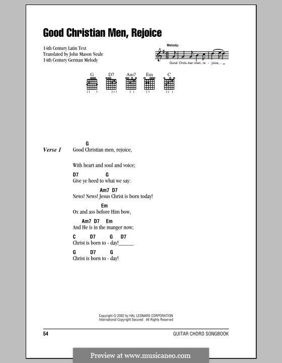 Good Christian Men, Rejoice: Lyrics and chords (with chord boxes) by folklore