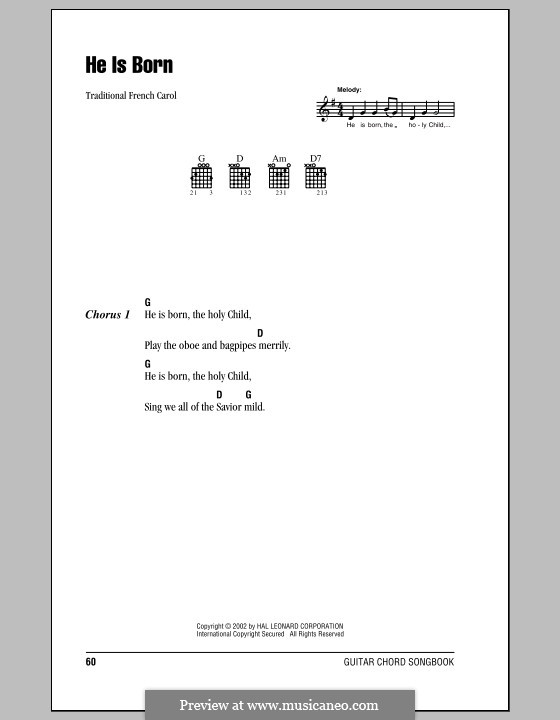 He Is Born, the Holy Child (Il est ne, le divin enfant): Lyrics and chords (with chord boxes) by folklore