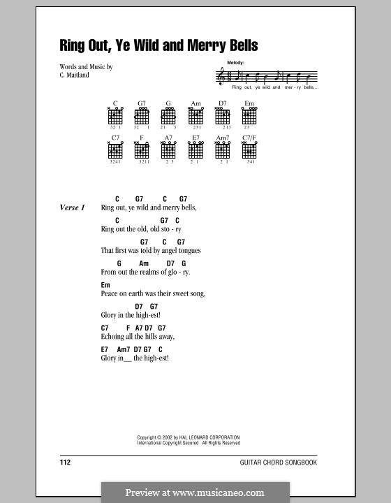 Ring Out, Ye Wild and Merry Bells: Lyrics and chords (with chord boxes) by C. Maitland