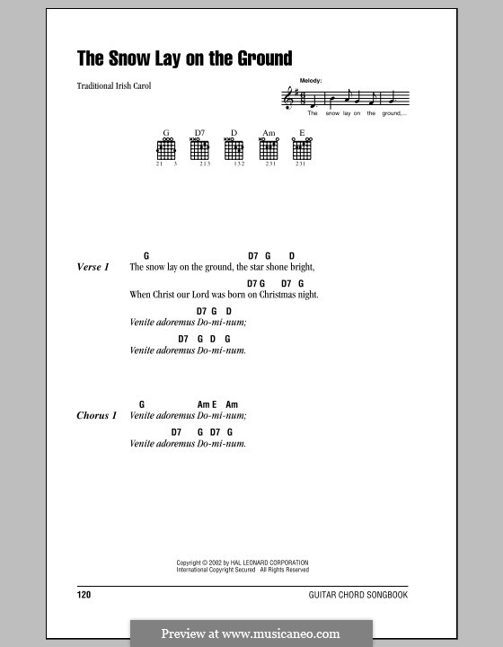 The Snow Lay on the Ground: Lyrics and chords (with chord boxes) by folklore