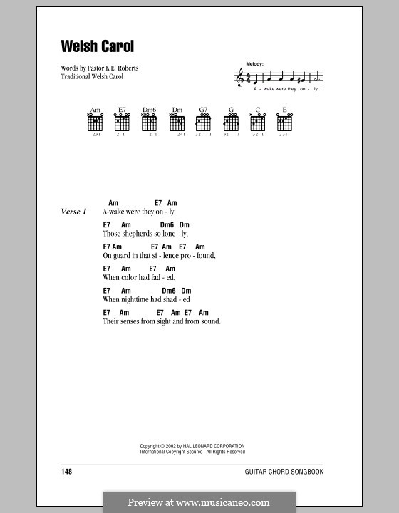 Welsh Carol: Lyrics and chords (with chord boxes) by folklore