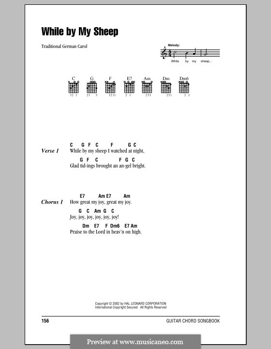 While By My Sheep: Lyrics and chords (with chord boxes) by folklore