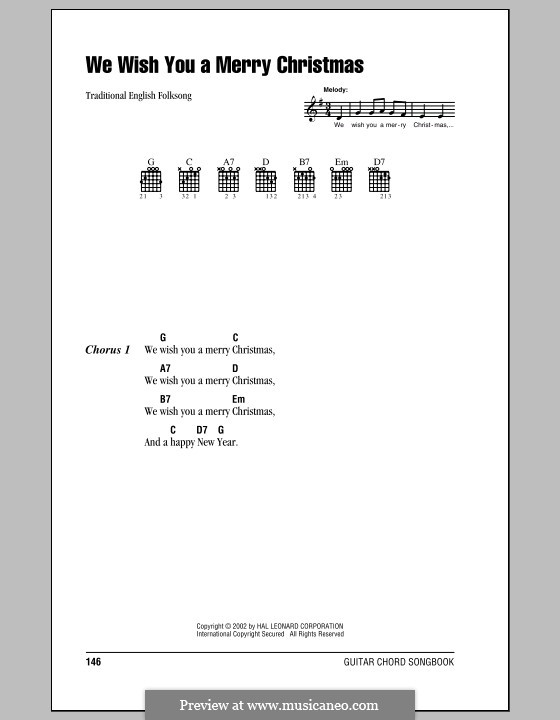 We Wish You a Merry Christmas (Printable Scores): Lyrics and chords (with chord boxes) by folklore