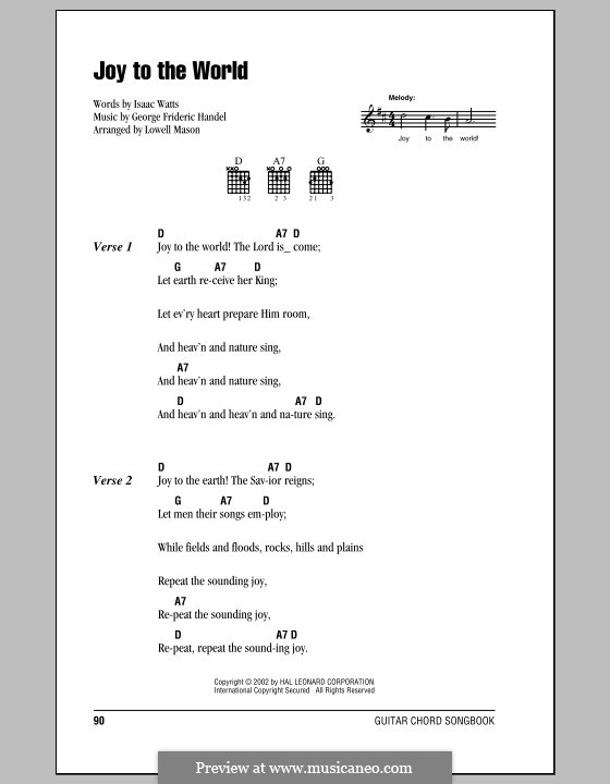 Joy To The World Printable Scores By Gf Hndel On Musicaneo