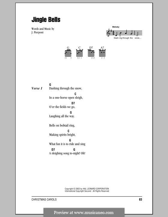 Jingle Bells (Printable scores): Lyrics and chords (with chord boxes) by James Lord Pierpont