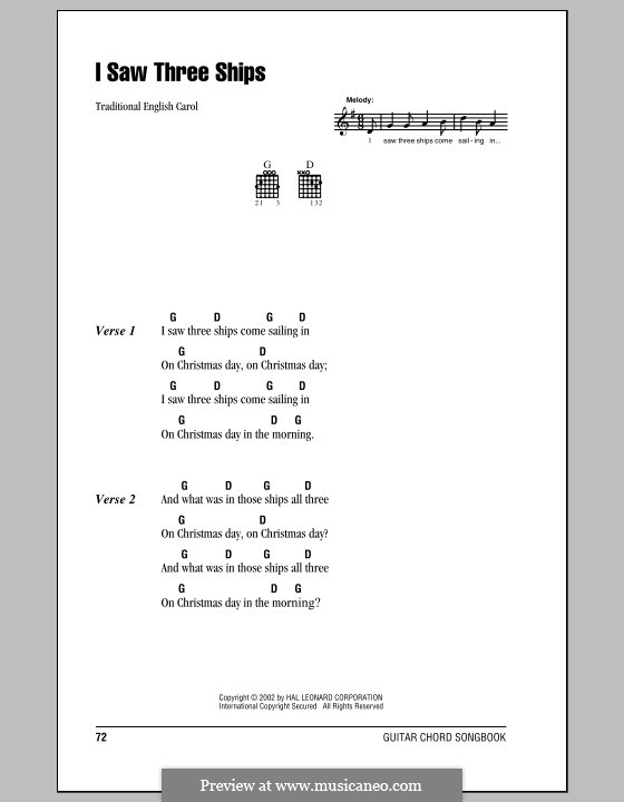 I Saw Three Ships: Lyrics and chords (with chord boxes) by folklore