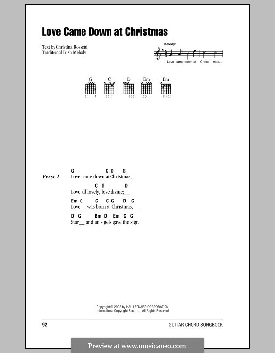 Love Came Down at Christmas: Lyrics and chords (with chord boxes) by folklore