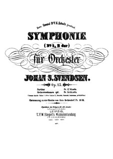 Symphony No.2 in B Flat Major, Op.15: For piano four hands by Johan Svendsen