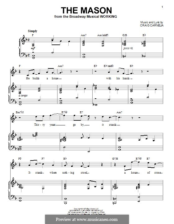The Mason: For voice and piano by Craig Carnelia
