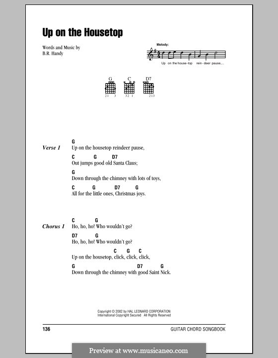 Up on the House Top: Lyrics and chords (with chord boxes) by Benjamin Russel Hanby