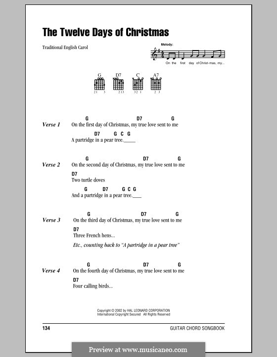 The Twelve Days of Christmas: Lyrics and chords (with chord boxes) by folklore