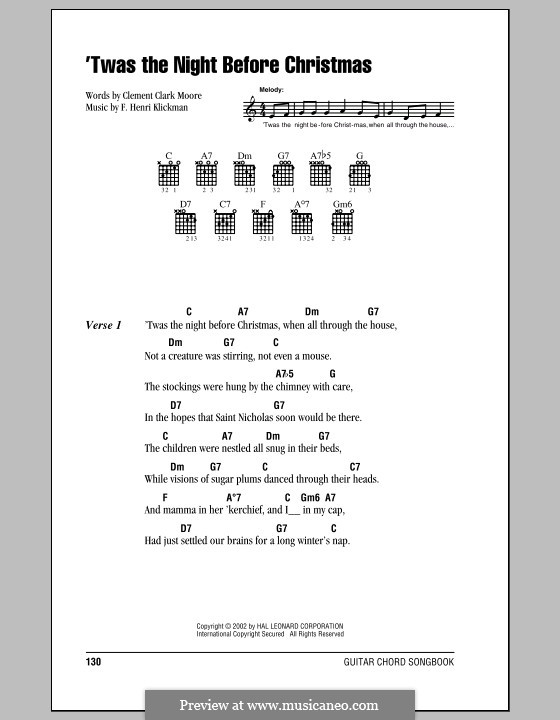 'Twas the Night Before Christmas (Clement Clark Moore): Lyrics and chords (with chord boxes) by Frank Henri Klickmann