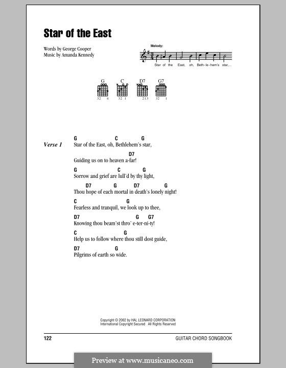 Star of the East: Lyrics and chords (with chord boxes) by Amanda Kennedy