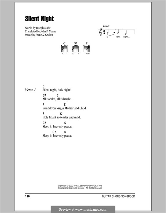Piano-vocal score: Lyrics and chords (with chord boxes) by Franz Xaver Gruber