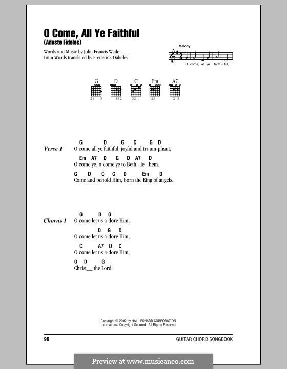 O Come, All Ye Faithful (Printable Scores): Lyrics and chords (with chord boxes) by John Francis Wade
