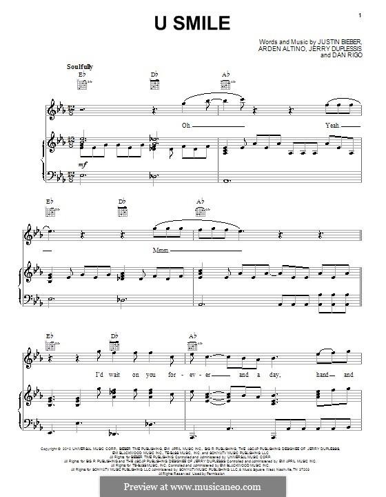 U Smile Justin Bieber By A Altino D Rigo J Duplessis On Musicaneo