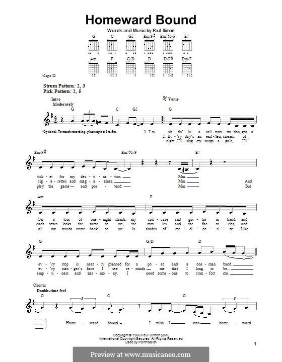 Homeward Bound (Simon & Garfunkel): For guitar (very easy version) by Paul Simon