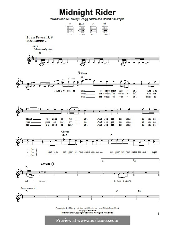 Midnight Rider (The Allman Brothers Band): For guitar (very easy version) by Gregg Allman, Robert Kim Payne